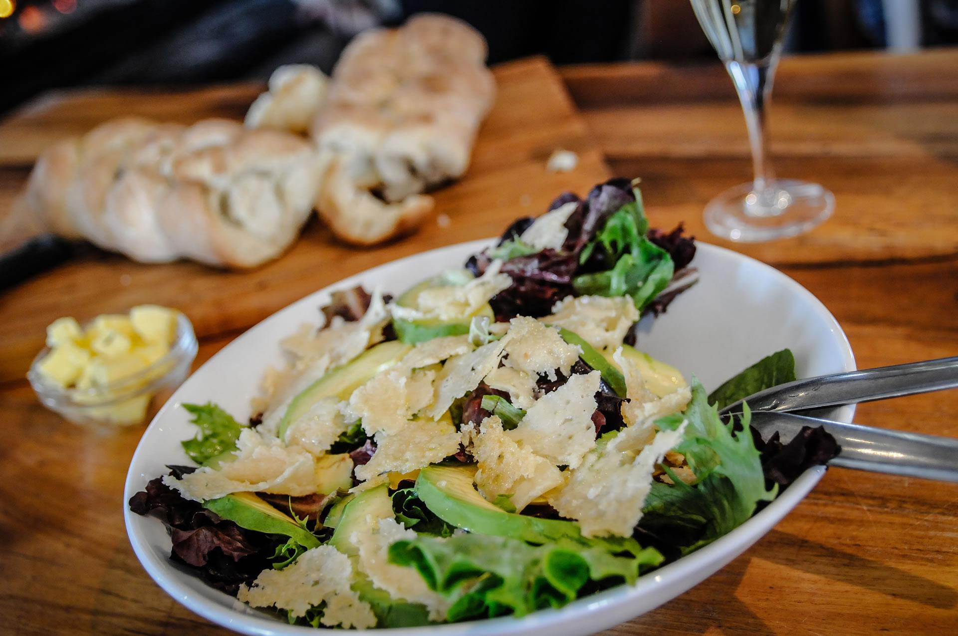 Salad and glass